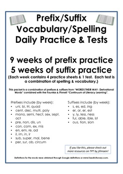 Prefix & Suffix (Spelling & Vocabulary) 3 Month Packet