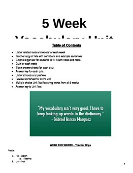 5 Week Vocabulary Unit: All tests, quizzes, notes included!
