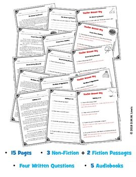 5 Winter Reading Comprehension Passages: Winter Paired Text + 5  Audiobooks