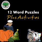 12 Word Puzzles Plus Activities NO PREP Sub Lesson