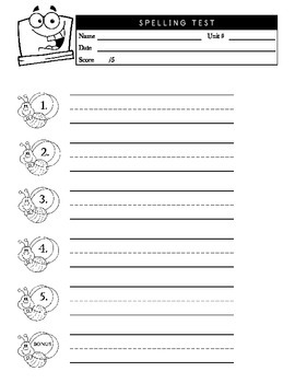 5 Word Spelling Test Sheet for PreK-1st with Guided Handwriting Lines