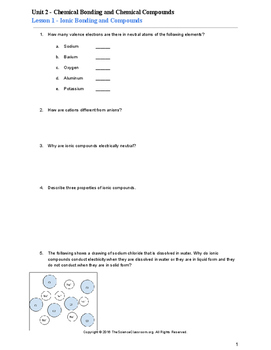 5 Worksheet Bundle For Chemistry Unit Chemical Bonding And