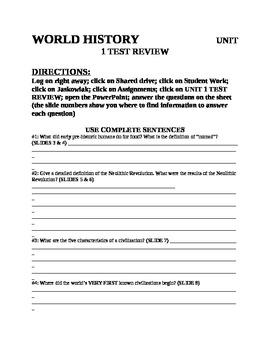UNIT 1 LESSON 5 World History Test Review QUESTION PACKET