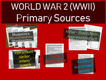 5 World War Two (WWII) Primary Source Documents with guiding questions, cartoons