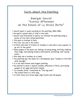 5 Writing Tasks(Comparative & Creative) Georges Seurat/Island of La Grande Jatte