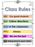 5 Ws Class Rules Poster - First Day of School - Kindergarten