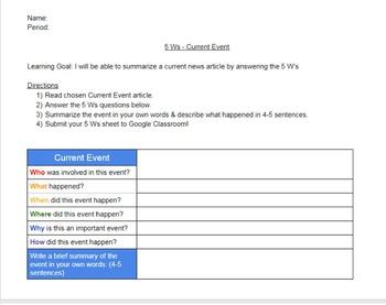 5 Ws Current Event Digital Graphic Organizer Social Studies Storytelling