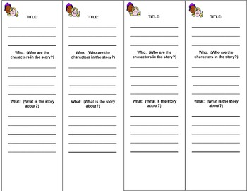 5 Ws  FILL-IN STORY/ BOOK REPORT PRINTABLE BOOKMARKS Grades 2-3
