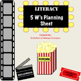 5 W's Plan and Write Graphic Organizer- Hollywood Theme