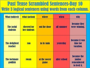 5 W's Scrambled Past Tense Sentence Warm-Ups ESL ELL EDITABLE