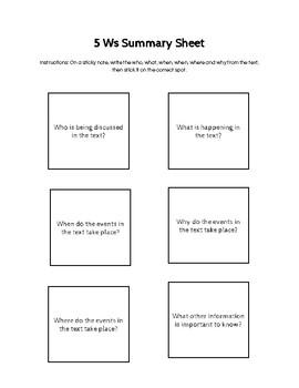 5 Ws Summary Sheet