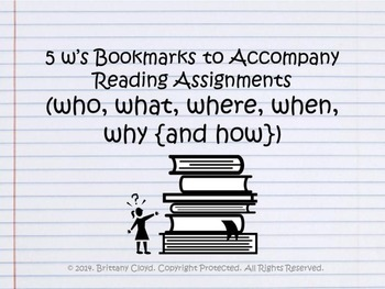 5 W's Who What Where When Why Book Marks Bookmarks for Rea