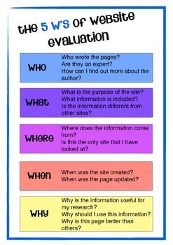 5 W's of Website Evaluation