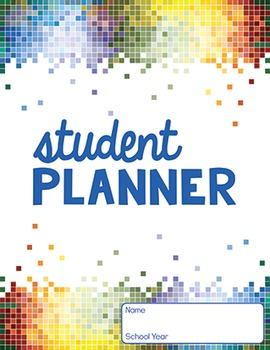 5 YEAR STUDENT PLANNER- rainbow pixel design