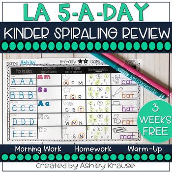 5-a-Day LA: Kindergarten LA Spiral Review - 3 weeks FREE