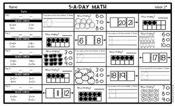 5-a-Day Math: 1st Grade Spiral Math Review / 3 Weeks FREE