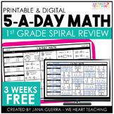 5-a-Day Math: 1st Grade Spiral Math Review / 3 Weeks FREE