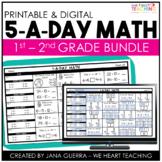 5-a-Day Math: Spiral Math Review / 1st and 2nd Grade Bundle