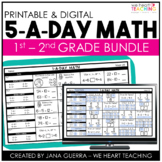 5 a Day Math | Math Spiral Review | 1st and 2nd Grade Bundle | Distance Learning