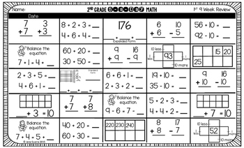 5-a-Day Math (2nd Grade) 1st 9 Weeks Assessment
