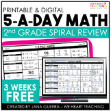 5-a-Day Math: 2nd Grade Spiral Math Review / 3 Week FREE