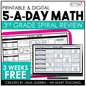 5-a-Day Math: 3rd Grade Spiral Math Review / 3 Week FREE