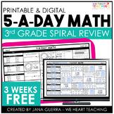 5-a-Day Math: 3rd Grade Spiral Math Review / 3 Week FREE