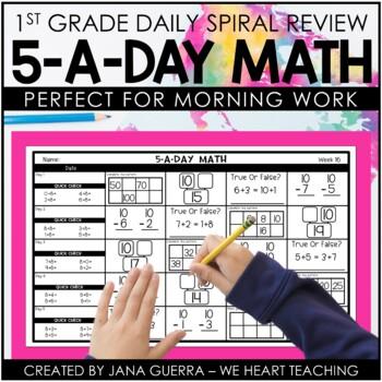5-a-Day Math: 1st Grade Daily Spiral Math Review