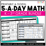 5 a Day Math |  Math Spiral Review K-3 Bundle | Distance Learning