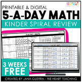 5-a-Day Math: KINDERGARTEN Math Spiral Review / 3 Weeks FREE