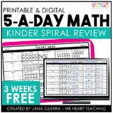 5-a-Day Math: KINDERGARTEN Math Spiral Review / 3 Weeks FREE