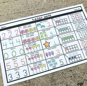 5-a-Day Math: KINDER Weekly Spiral Math Review (Growing Bundle)