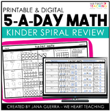 5 a Day Math | KINDERGARTEN Math Spiral Review | Distance Learning