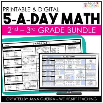 5-a-Day Math: Math Spiral Review / 2nd - 3rd Grade Bundle