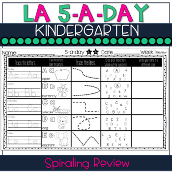 5-a-Day:KINDERGARTEN Spiraling Review - Great morning work