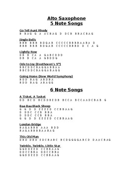 5 and 6 Note Songs