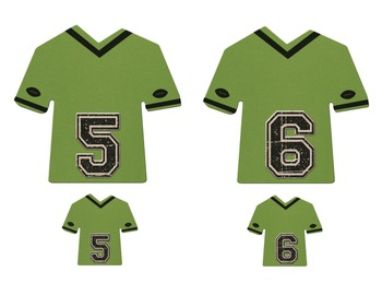 5 and 6 SPORTS THEME JERSEY NUMBERS OOPS