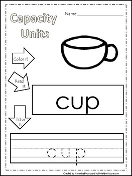 5 capacity Units printable worksheets. Color, Read, Trace Capacity Units.