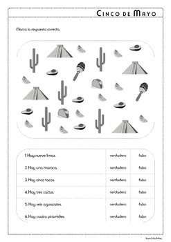 5 (cinco) de mayo - Vocabulary in Spanish - Activity Pack