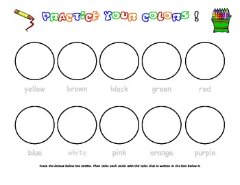 5 color words and coloring activities - trace, color, learn your words