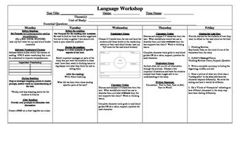 5-day Read Aloud Plan for Language Workshop