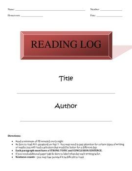 5 day Reading log (2nd set)