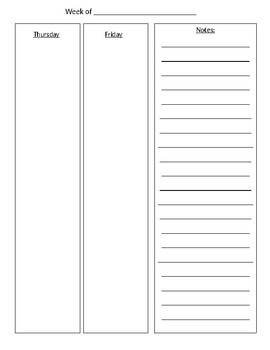 5-day Week Planner Pages (30 minute increments) - Editable