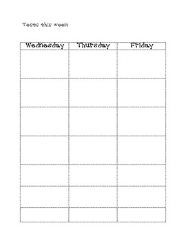 5 day homework planner