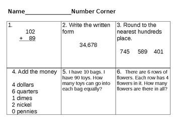 5 days of Number Corner