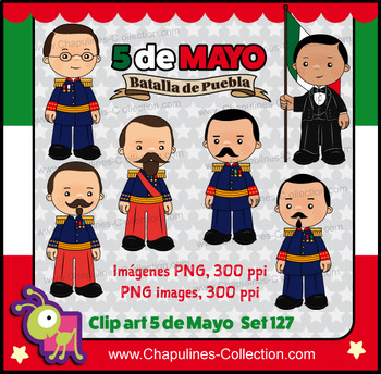 5 de Mayo Clipart, Mexican history, Batalla de Puebla, Battle of Puebla Set 127