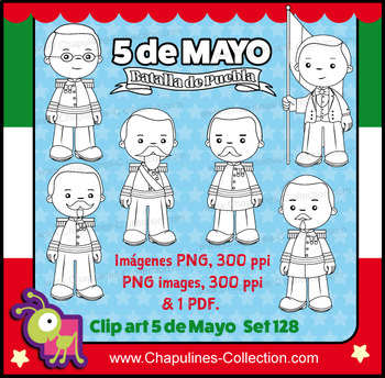 5 de Mayo Clipart black & white, and coloring pages, Batalla de Puebla, Set 128