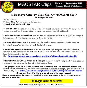 5 de Mayo Color by Code Clip Art  SET 1 ClipArt Cinco de Mayo Images