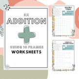 5 different addition fun 10 Frame worksheets to play using dice and drawing
