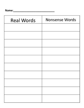 5 different short vowel, real word/nonsense word sorts. a,e,i,o,u